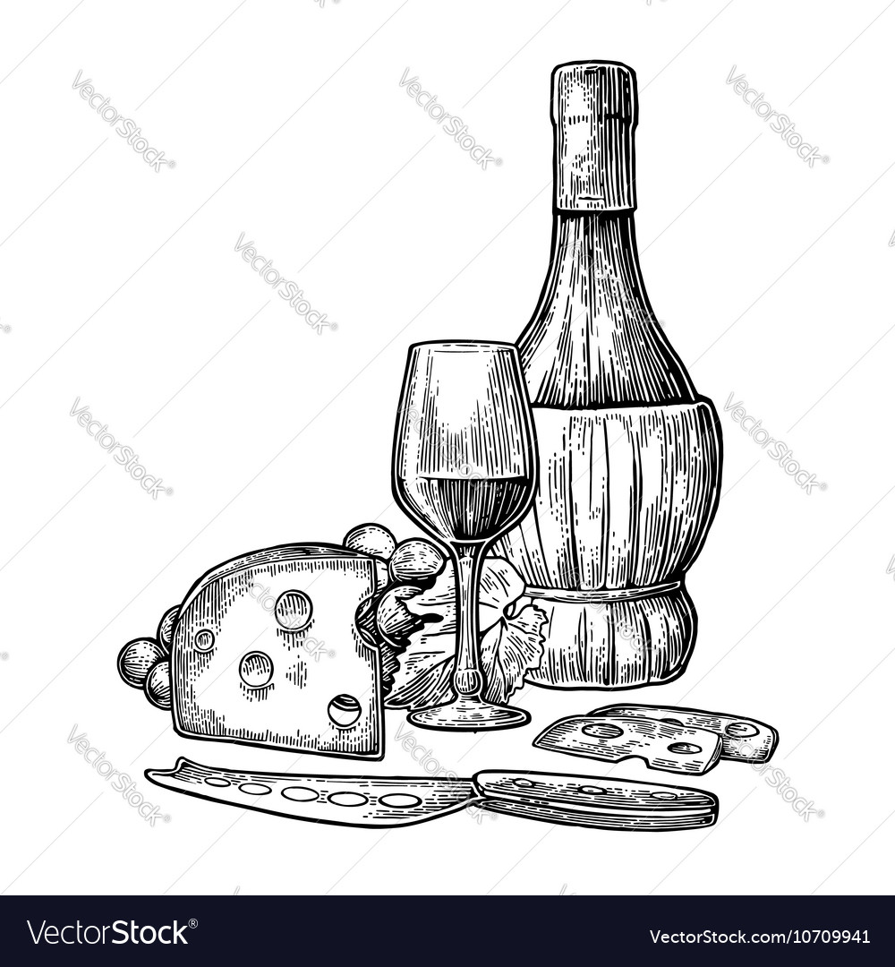Cheese and wine set bottle glass bunch of vector