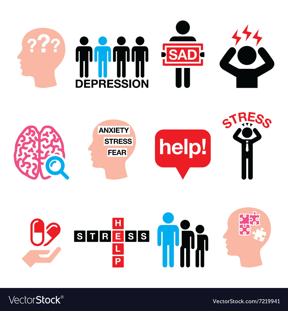 Depression stress icons set  mental health conce vector