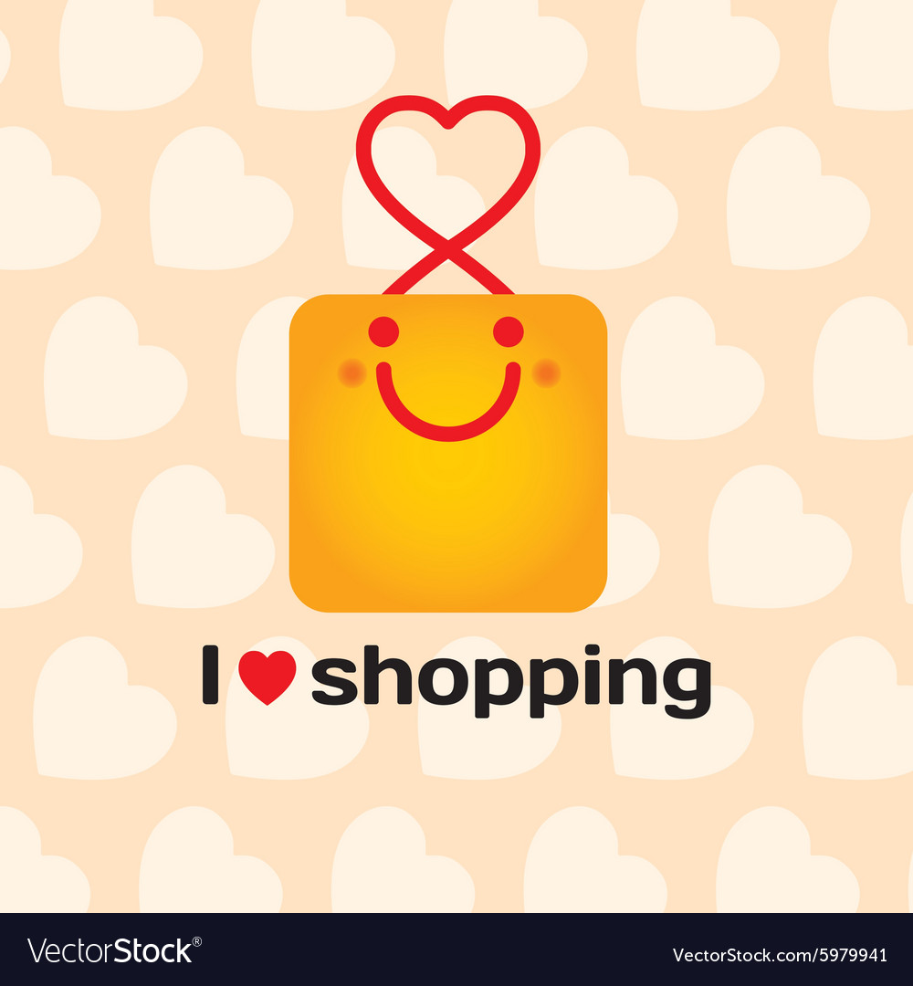 I love shopping smiling bag with hearts on vector