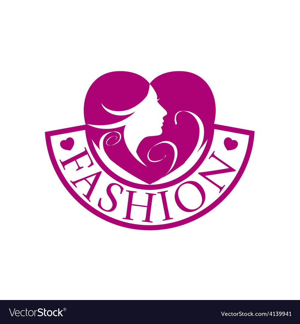 Logo heart and face for fashion vector