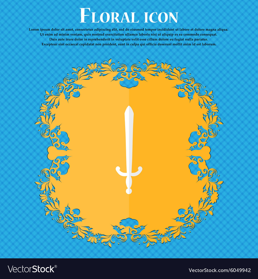 Sword floral flat design on a blue abstract vector