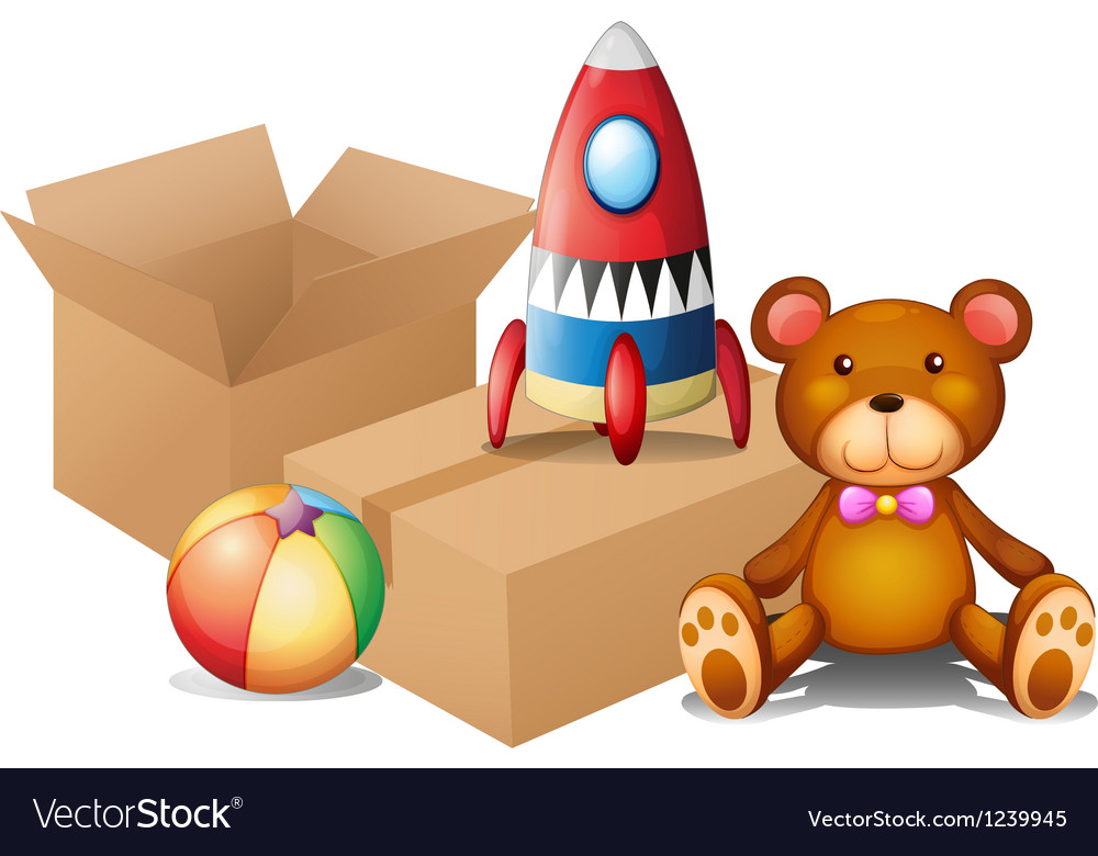 Different toys with two boxes vector
