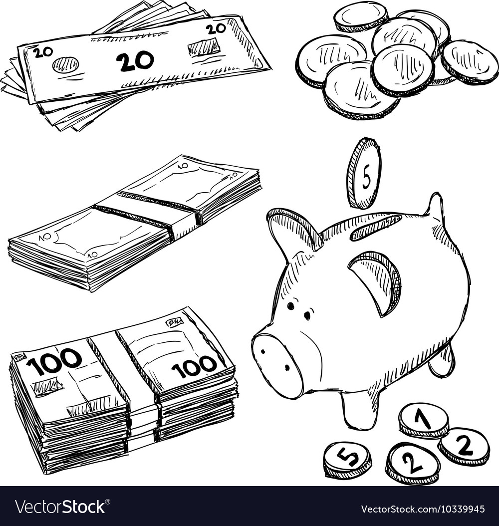 Money and coins doodles vector