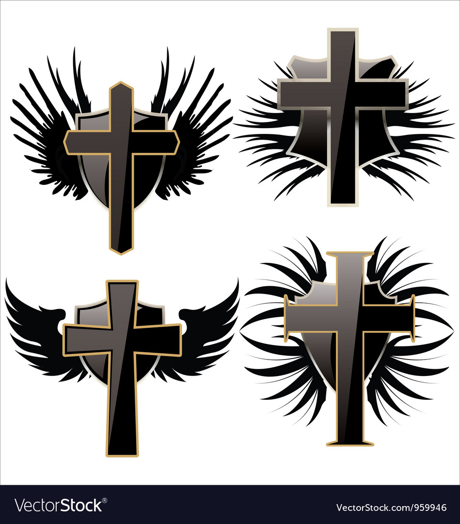 Cross on black shield with wings set vector