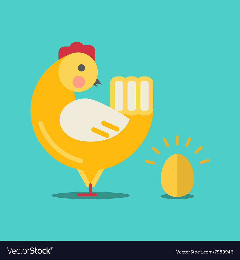 Cute cartoon chicken and gold egg vector