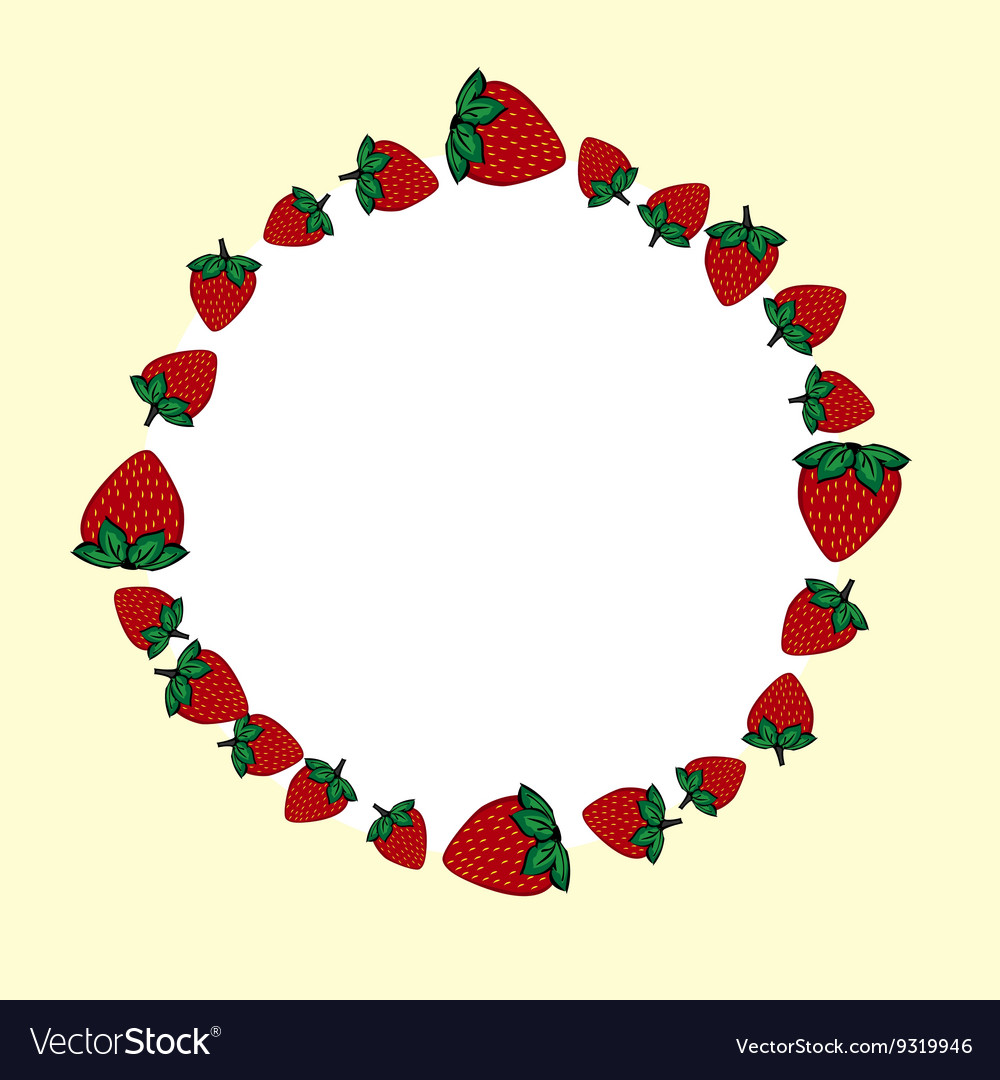 Hand drawn strawberries label vector