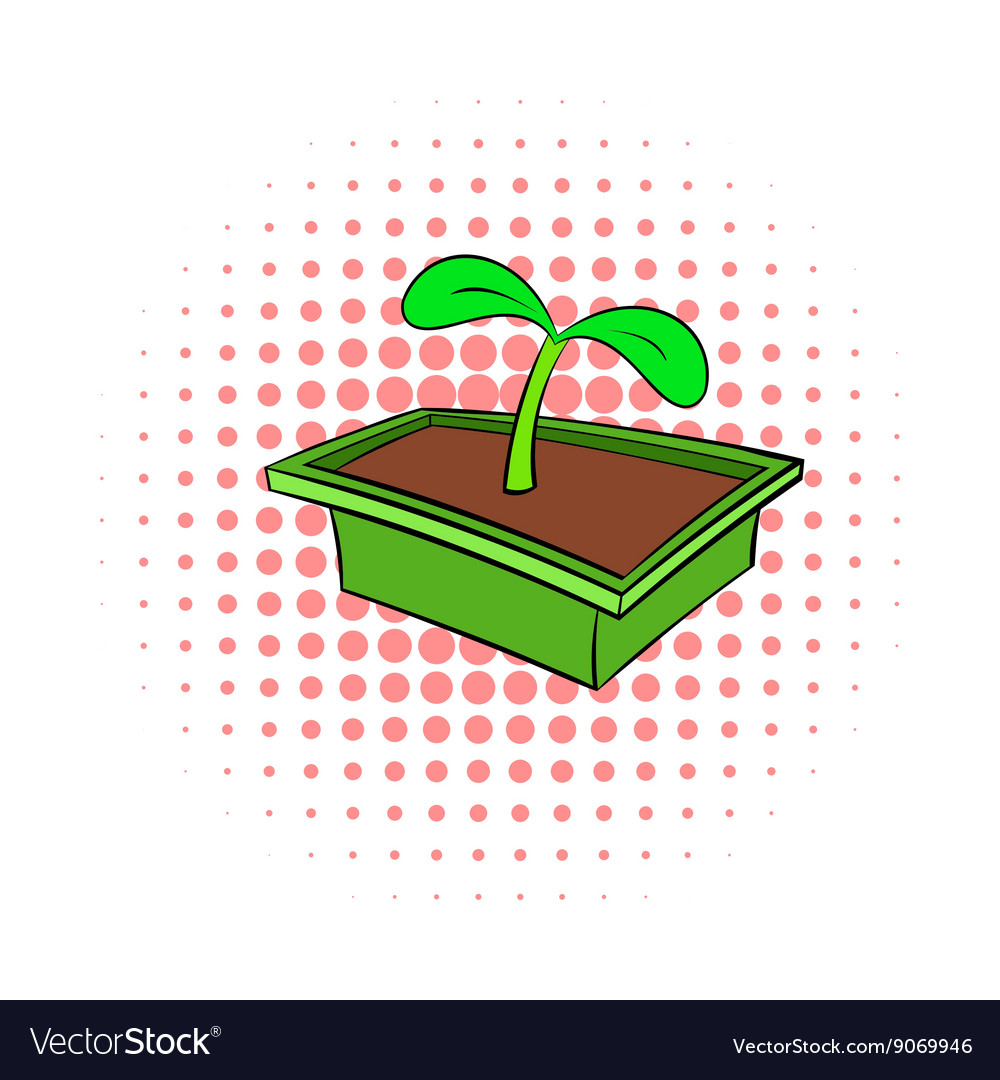Seedlings in box icon comics style vector