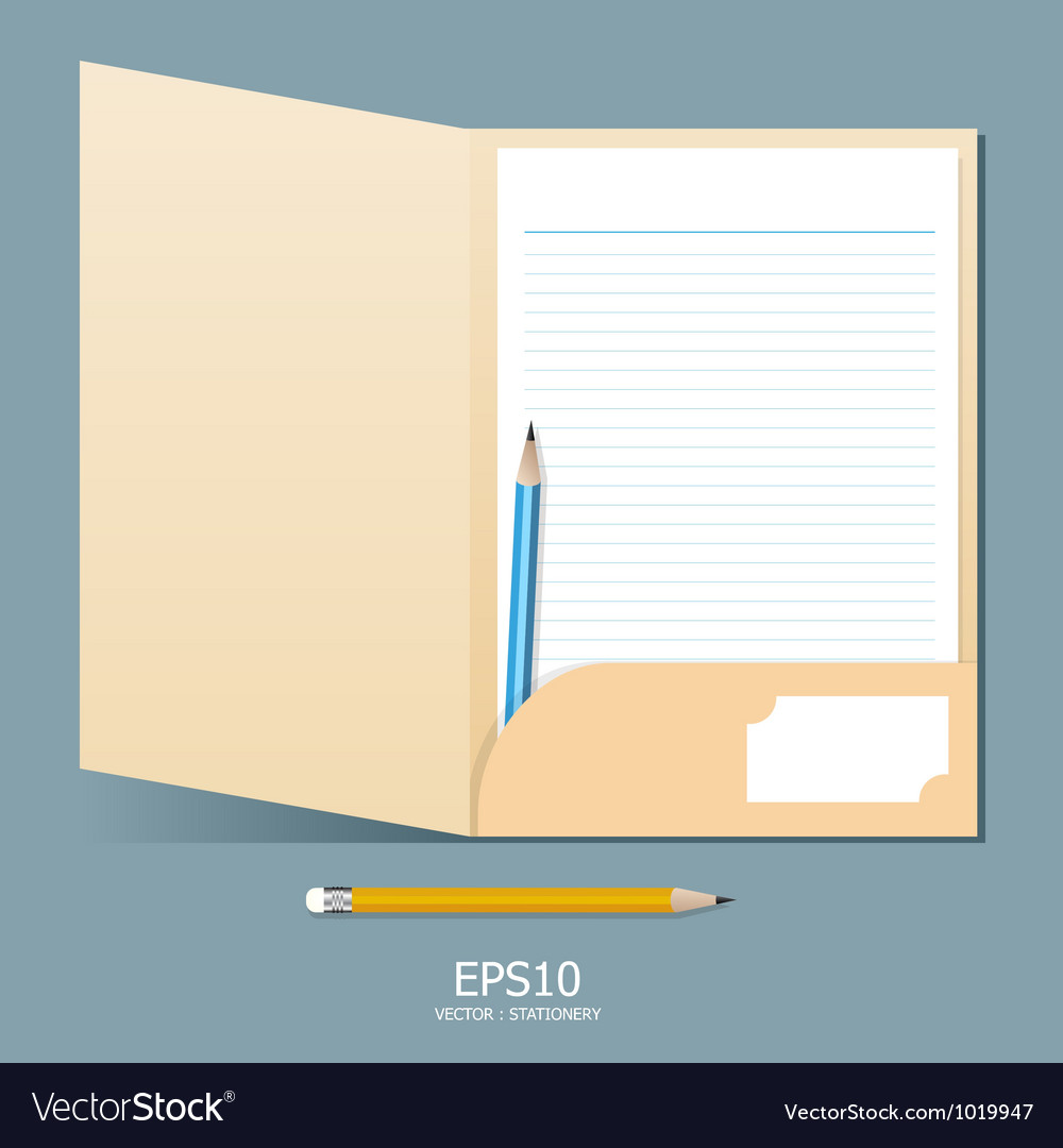 Note paper in folder with pencil vector