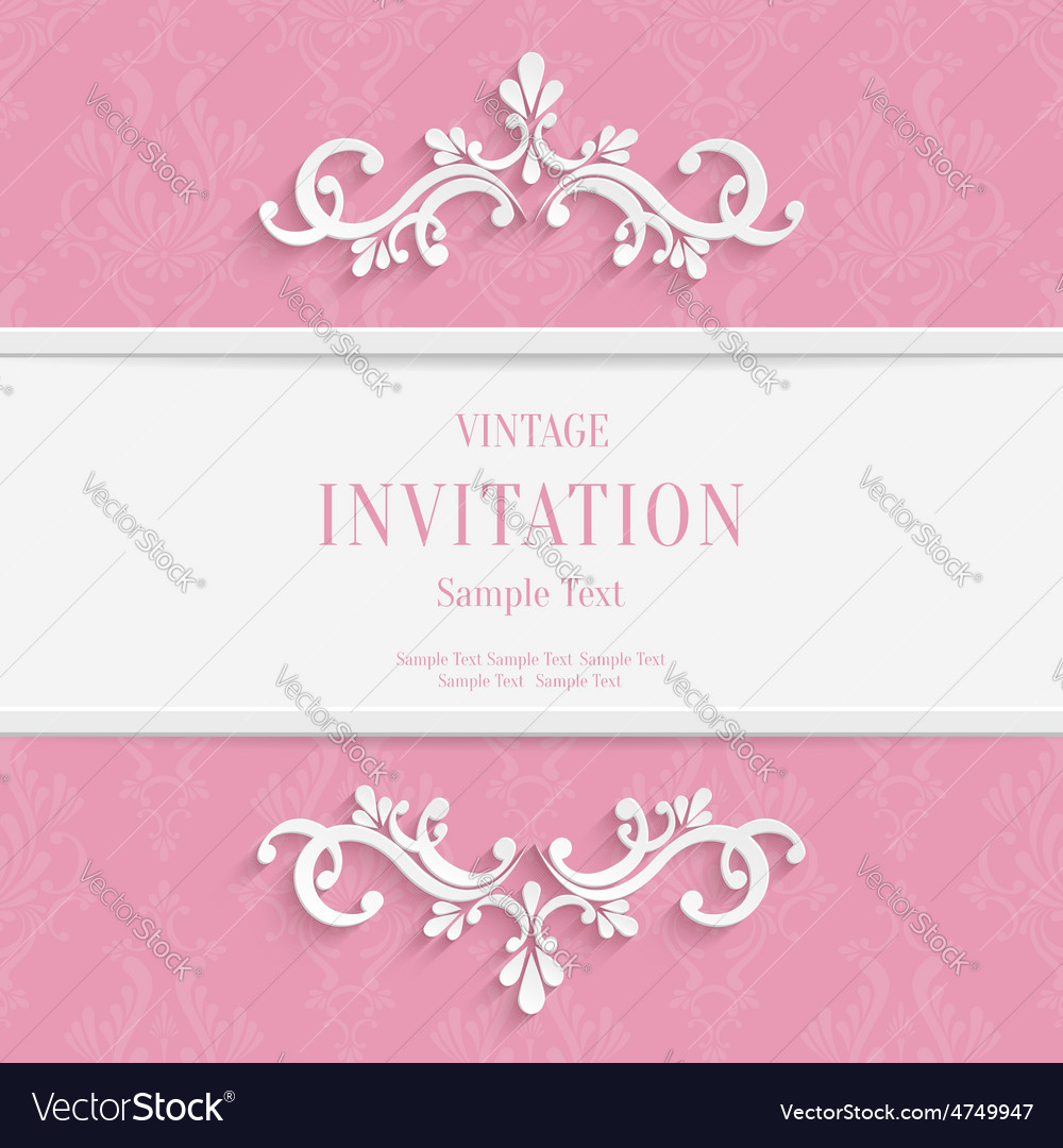 Pink floral 3d christmas and invitation vector