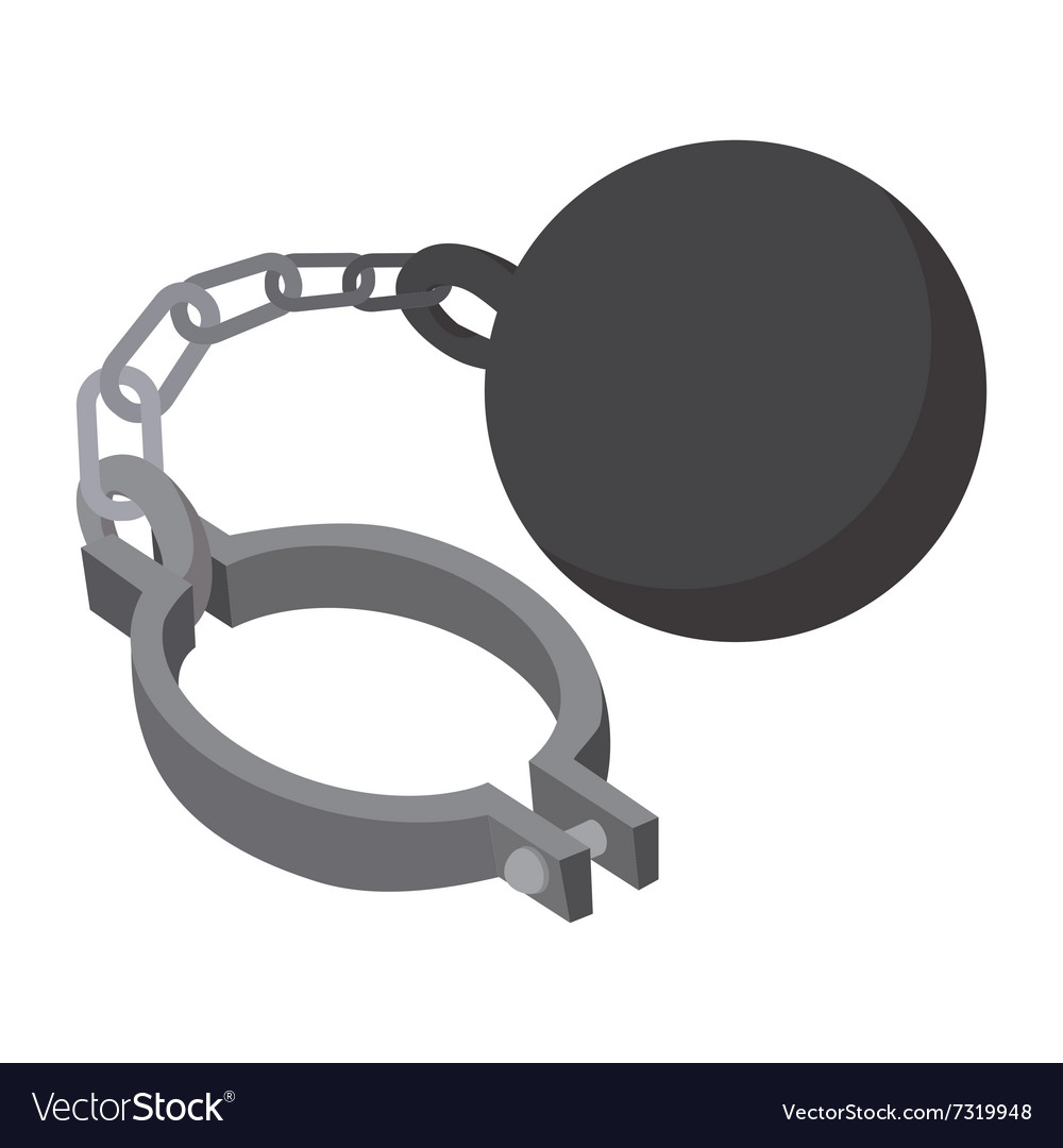 Prison ball and chain cartoon icon vector