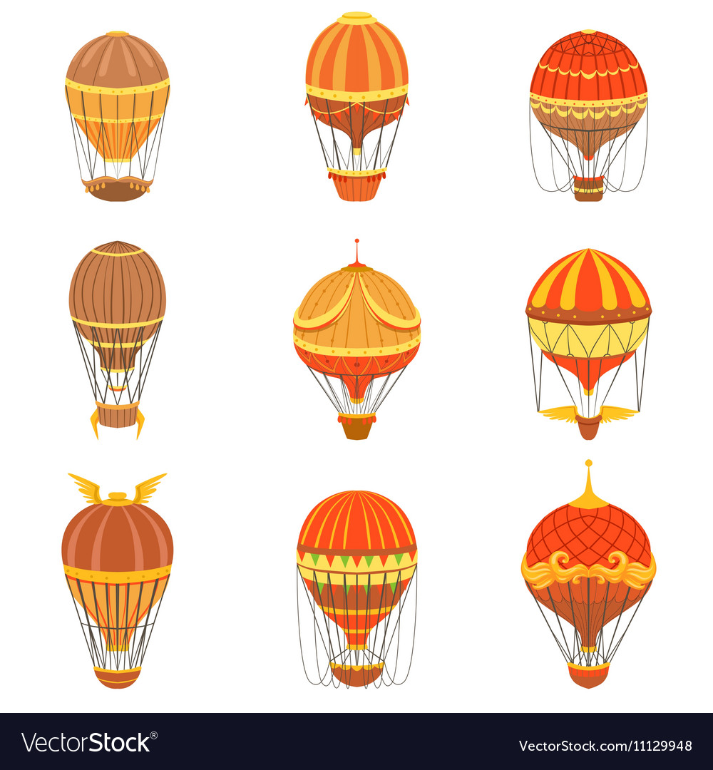 Vintage hot air balloons set vector