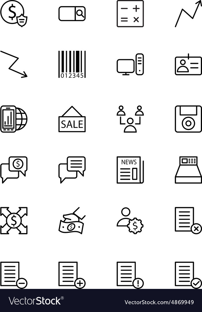 Finance line icons 9 vector
