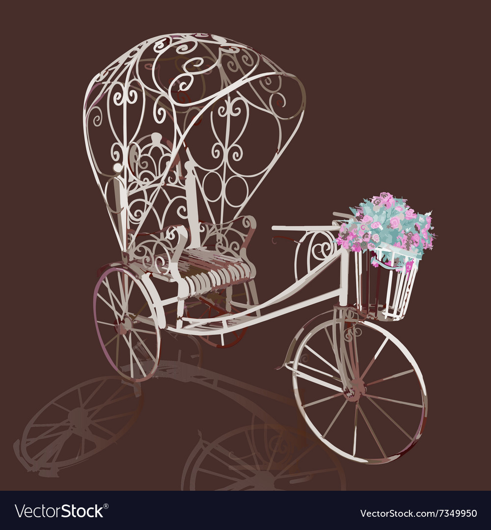Elegance retro white tricycle with flowers vector