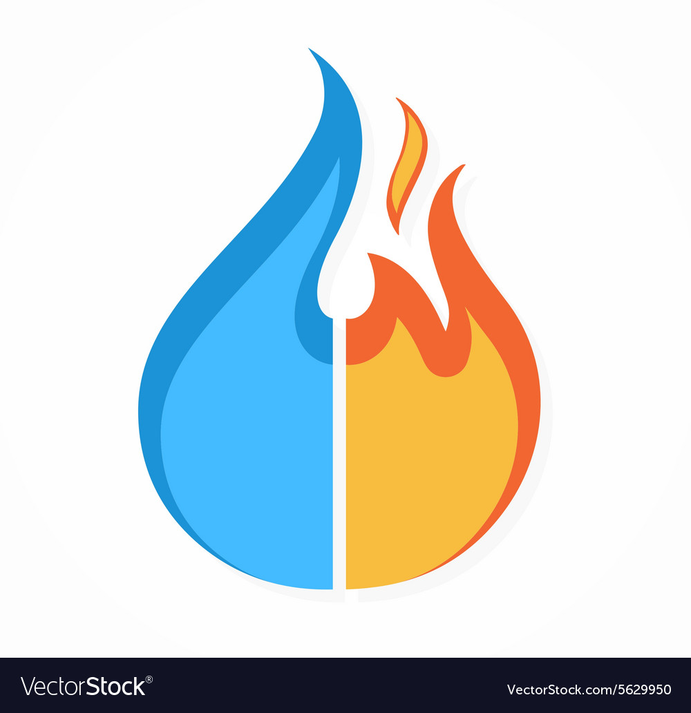 Fire and water logo or icon vector