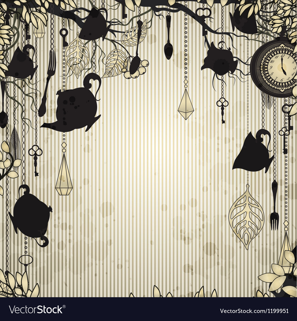 Abstract vintage background with tea party theme vector