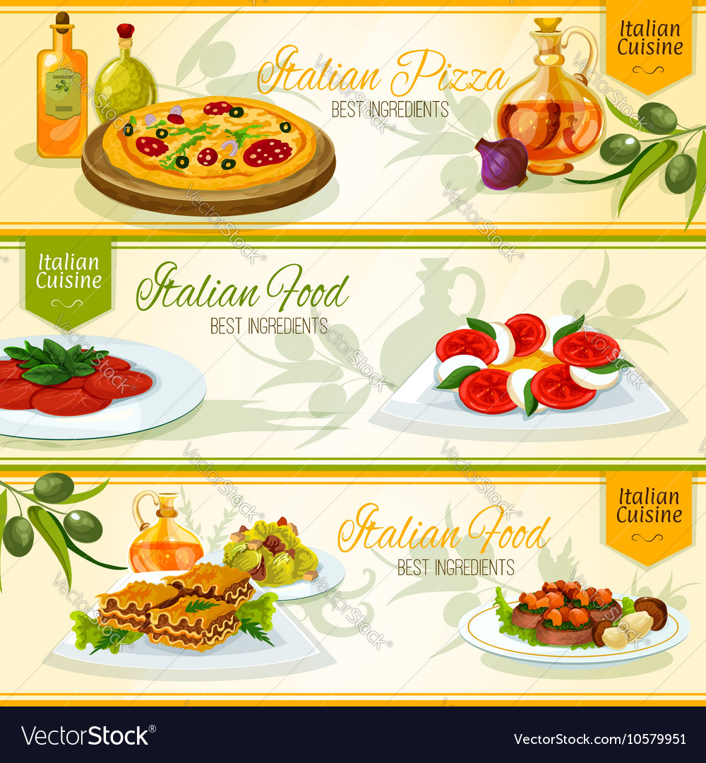 Italian cuisine banners for restaurant design vector