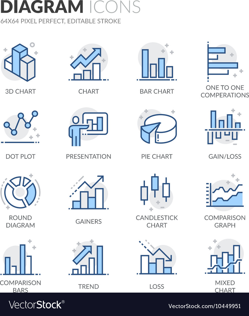 Line diagram icons vector