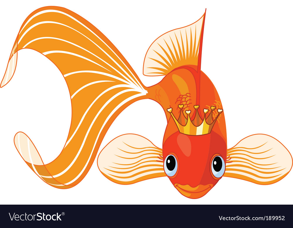 Cartoon goldfish queen vector