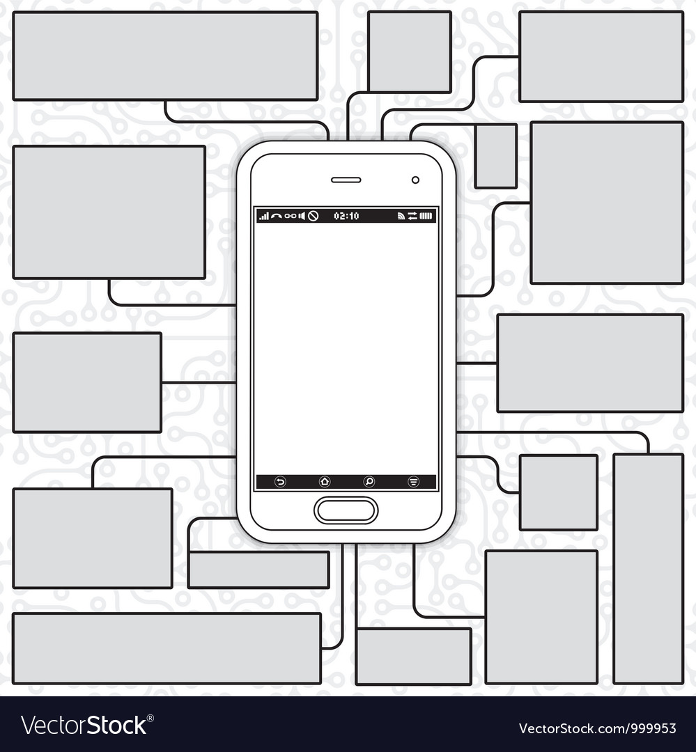 Cellphone blueprint vector