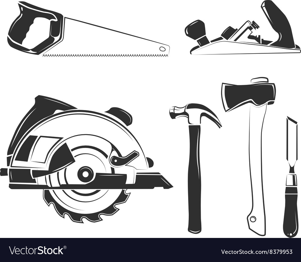 Elements for carpentry labels logos vector