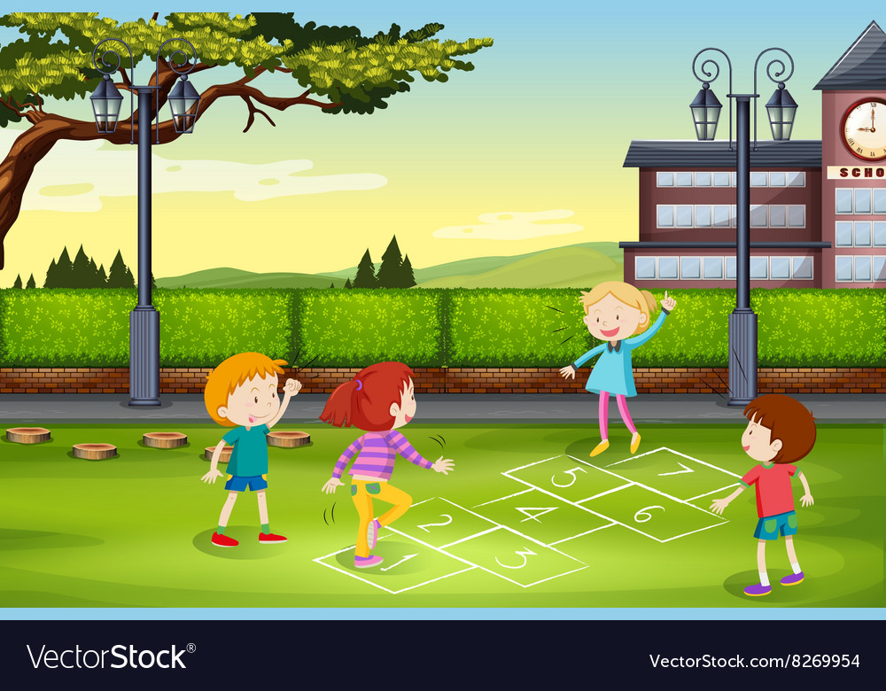 Children playing hopscotch in the park vector