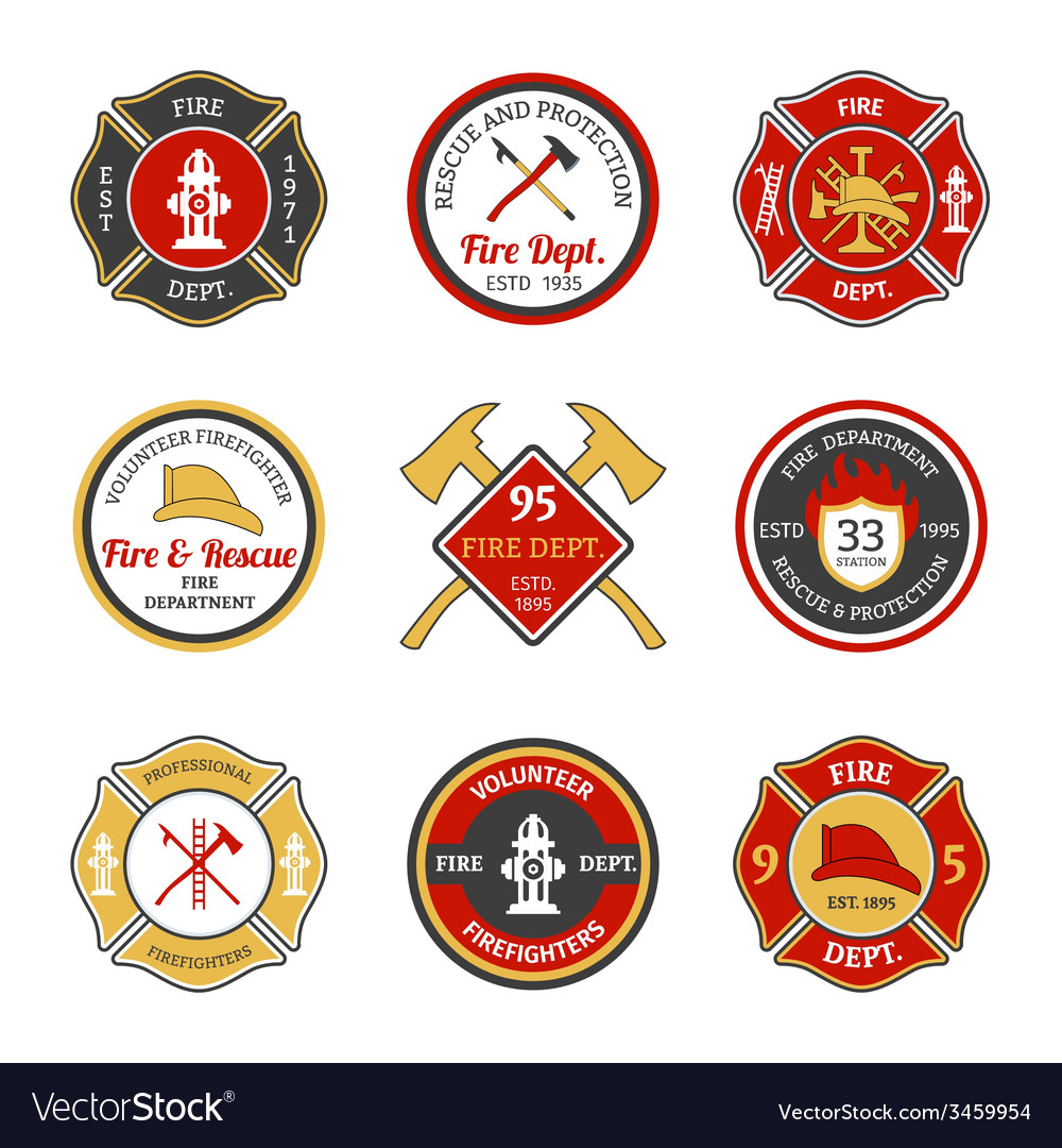 Fire department emblems vector