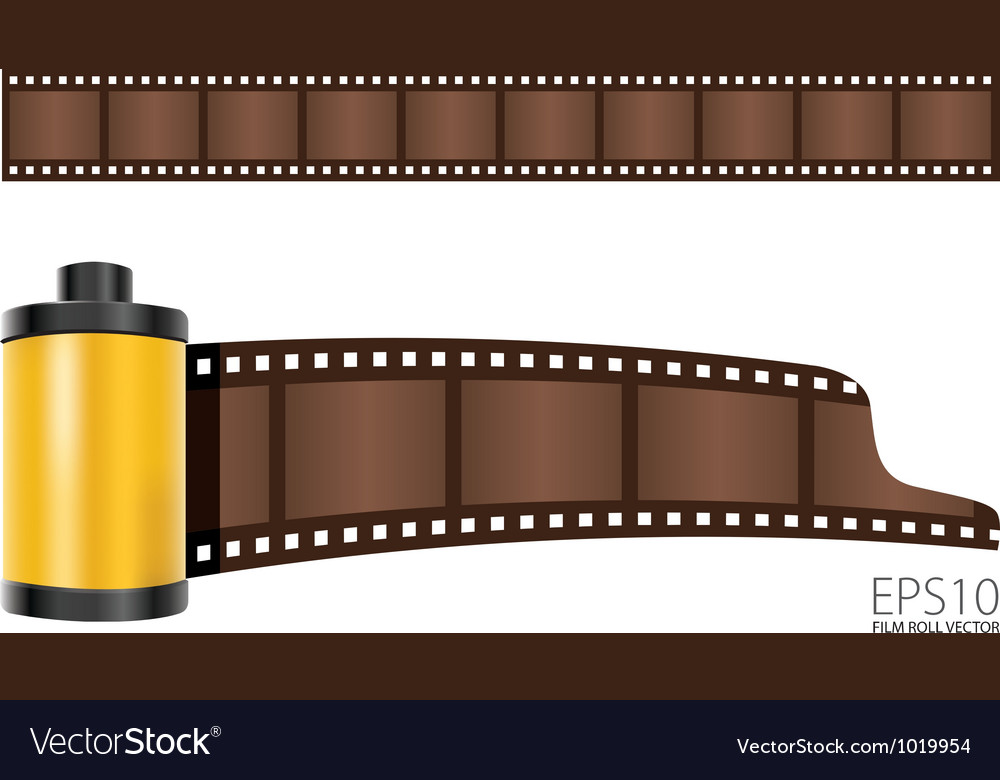 Yellow film roll vector