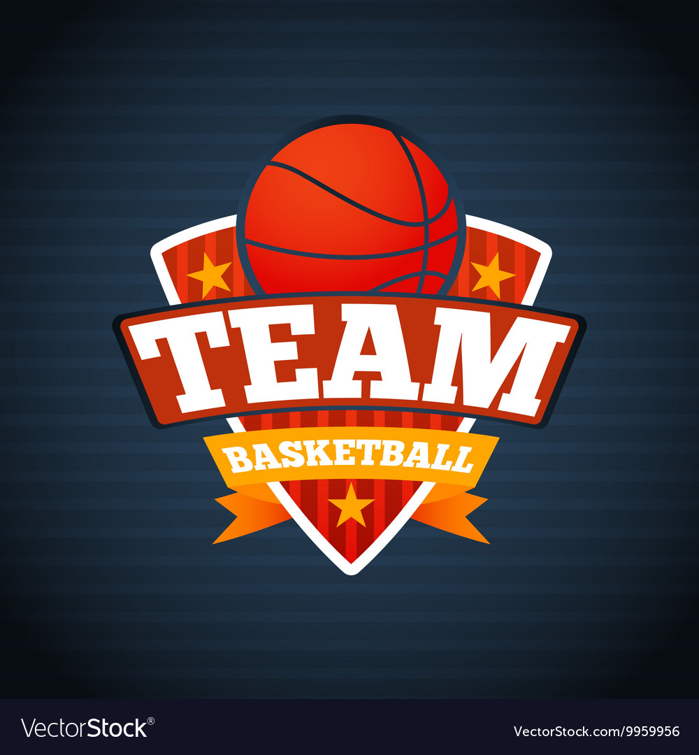 Basketball team logo template with ball stars and vector