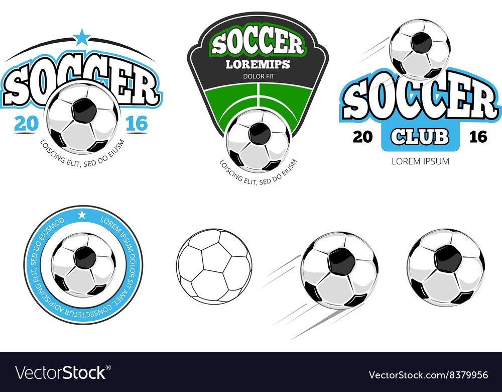 European football soccer labels emblems vector