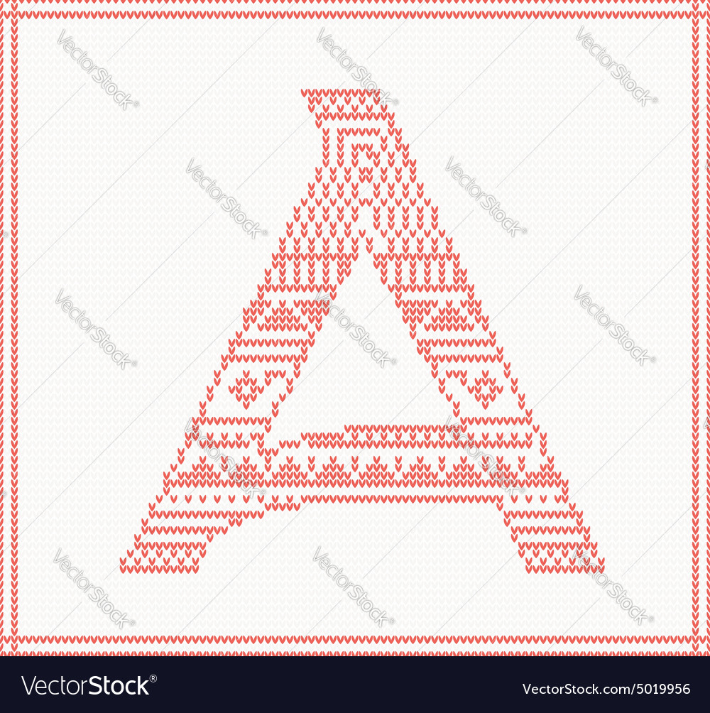 Red knitted letter a with ornament vector
