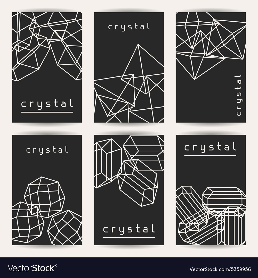 Set of business cards with geometric crystals and vector