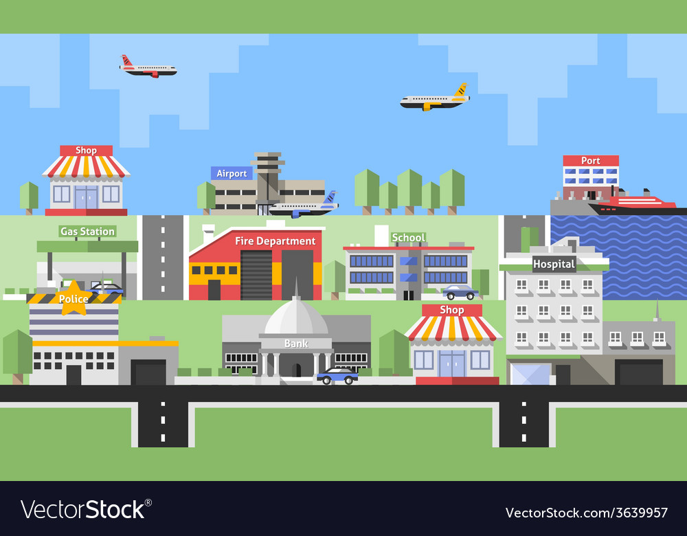 Government buildings background vector