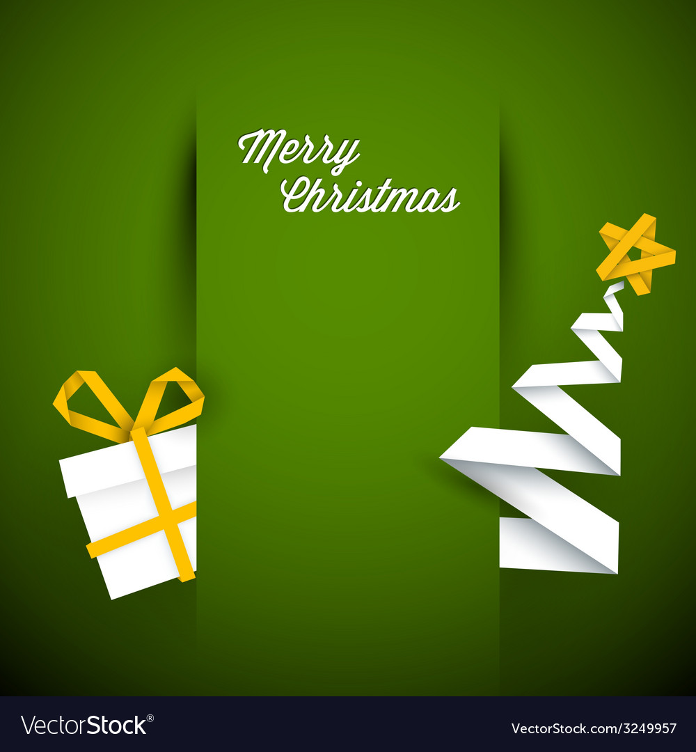 Simple green christmas card vector