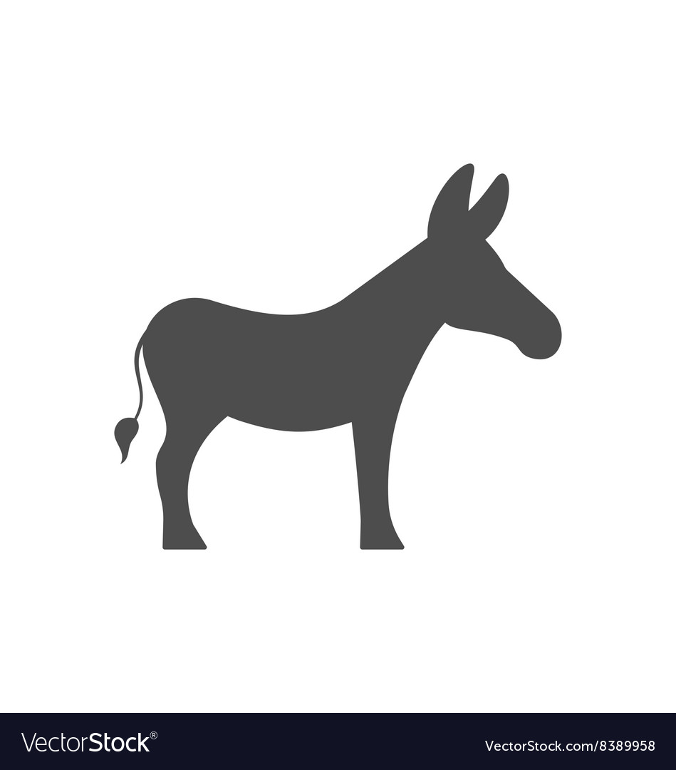 Donkey silhouette isolated on white background vector