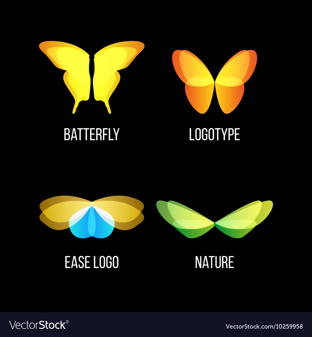 Isolated colorful butterflies logo set vector