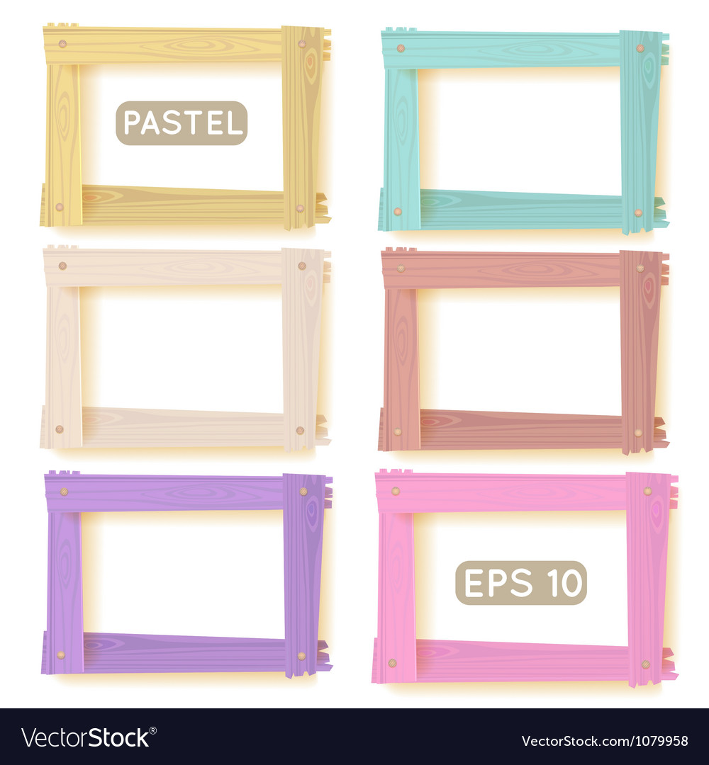 Wooden picture frames pastel set vector