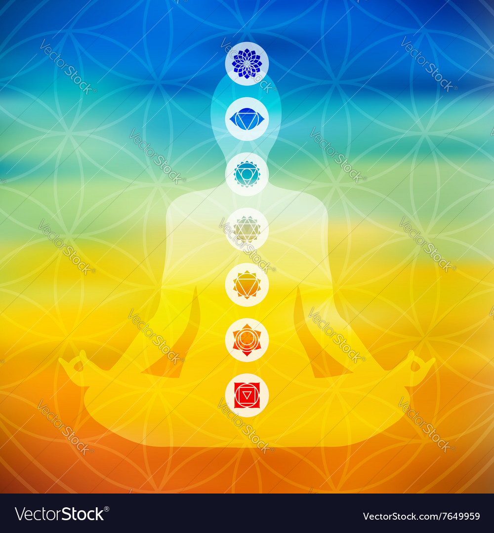 Yoga pose with chakra icons vector