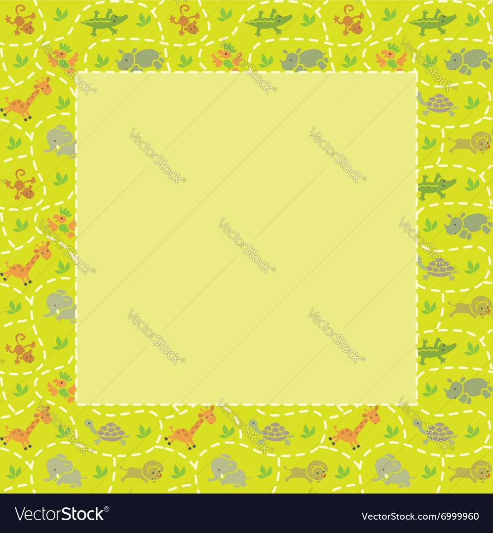 Frame with seamless pattern of funny animals vector