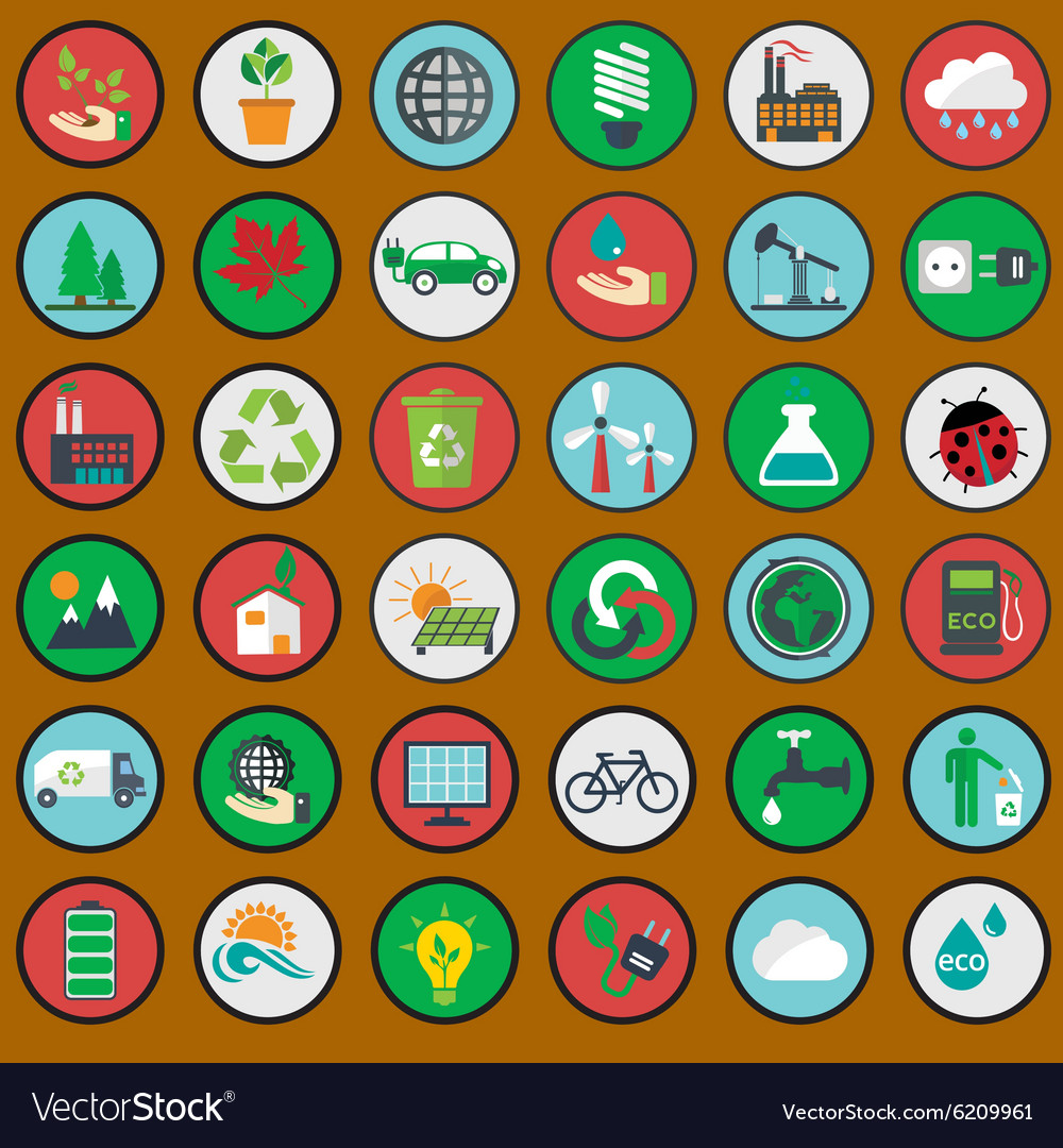 Green eco icons ecology set vector