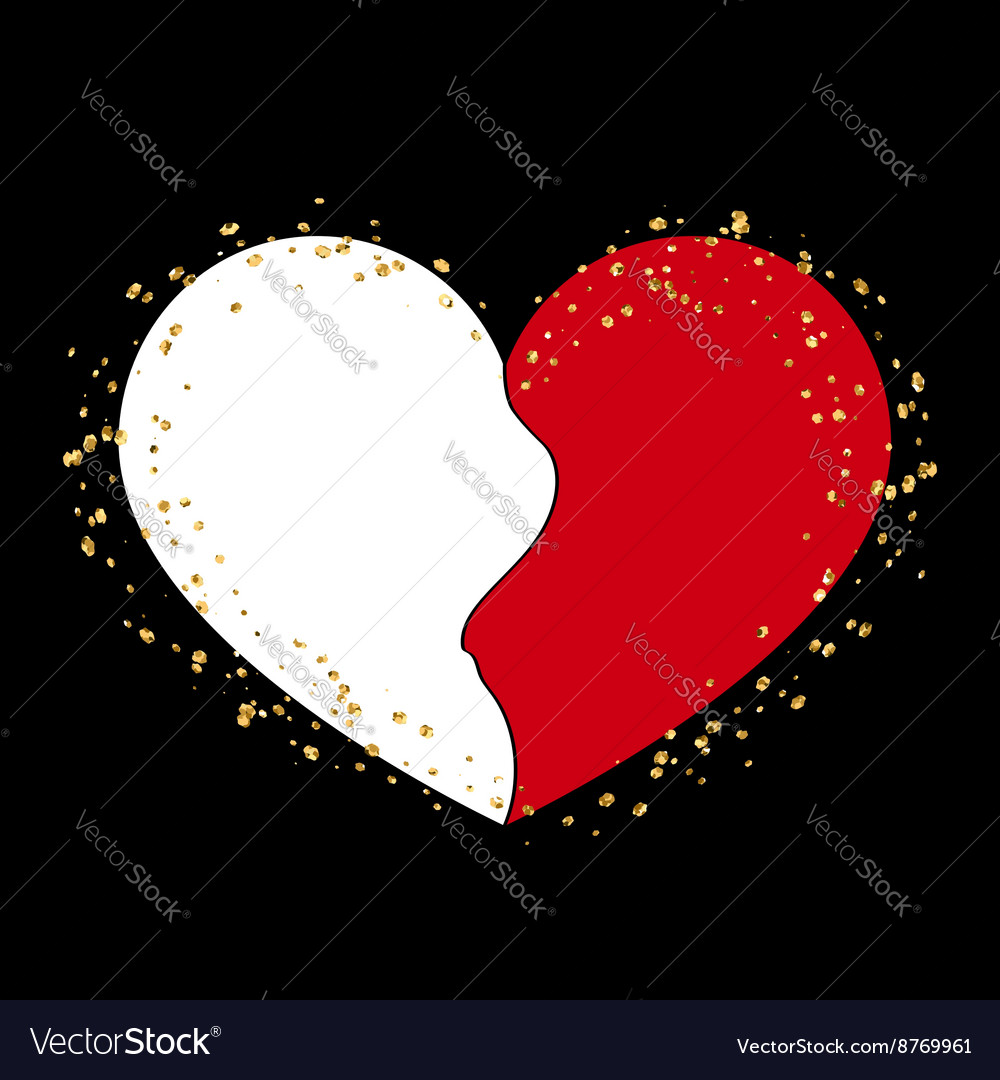 Halves gold heart icon golden splash vector