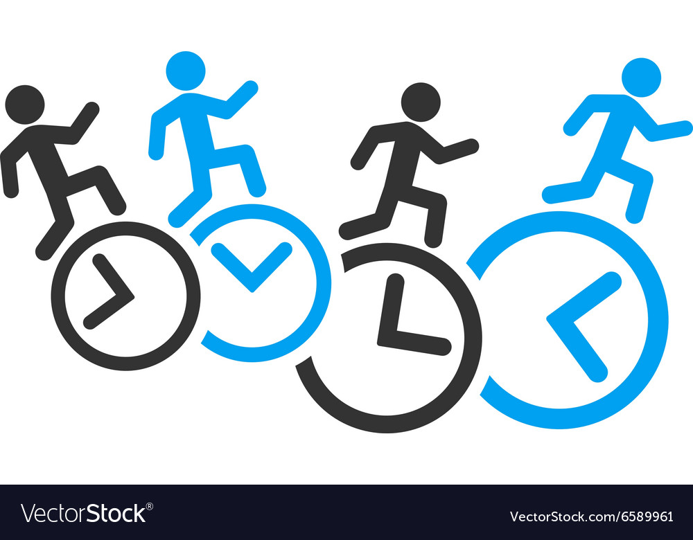 Men running over clocks icon vector