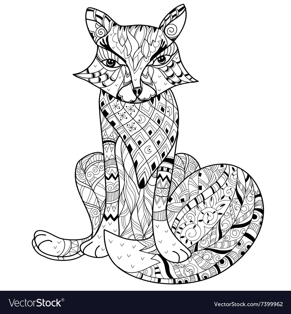Hand drawn doodle outline fox boho sketch vector
