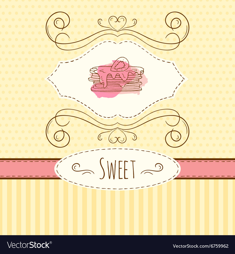 Pancake hand drawn card with vector
