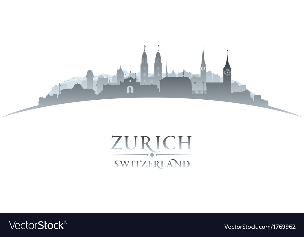 Zurich switzerland city skyline silhouette vector