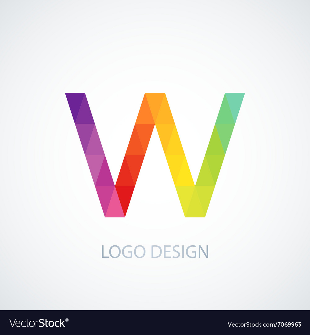 Colorful logo letter w vector