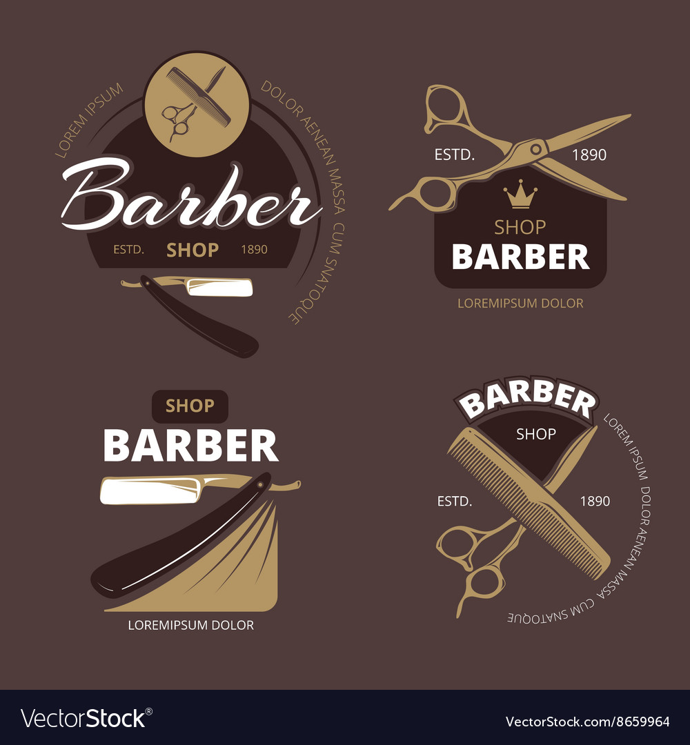 Color barber shop logo labels and badges vector