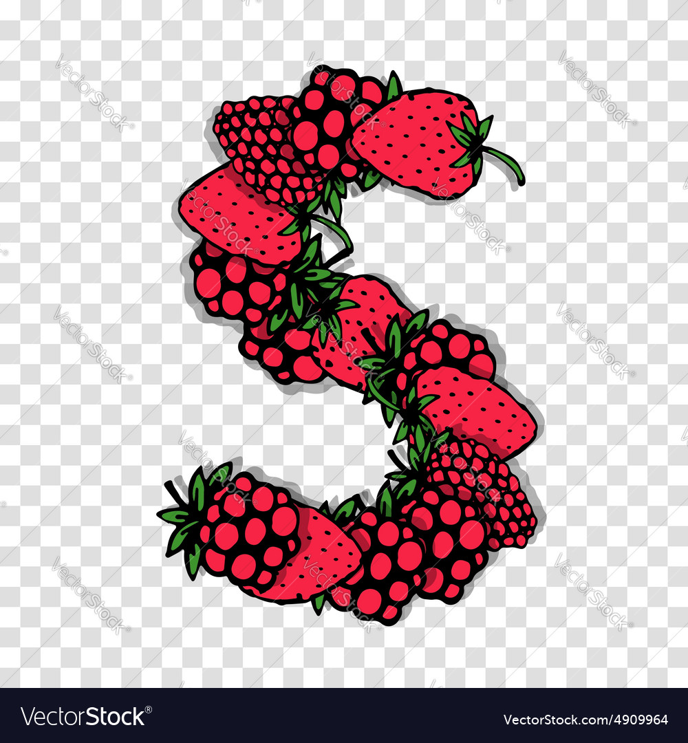 Letter s made from red berries sketch for your vector