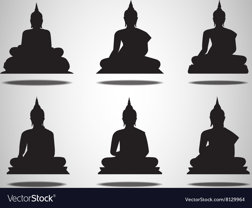 Set of buddha silhouettes on the white background vector