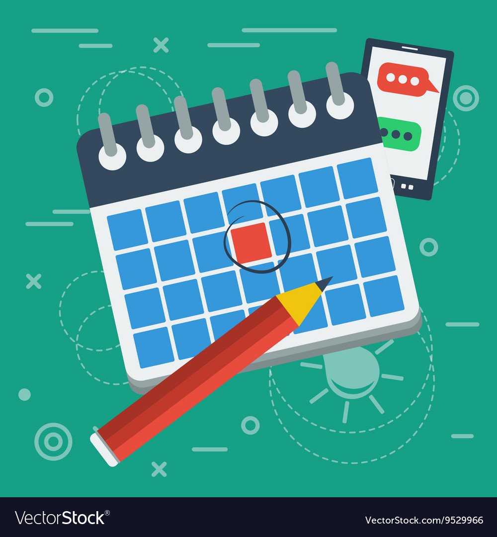Flat calendar icon and pencil vector