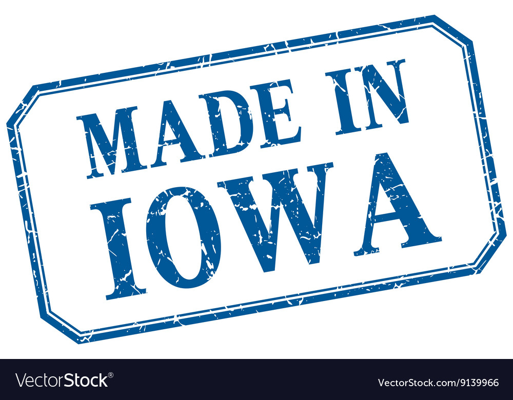 Iowa  made in blue vintage isolated label vector